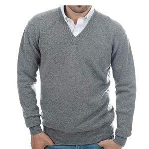 jersey de cachemir para hombre color gris