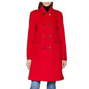 abrigo rojo de cachemir para mujer